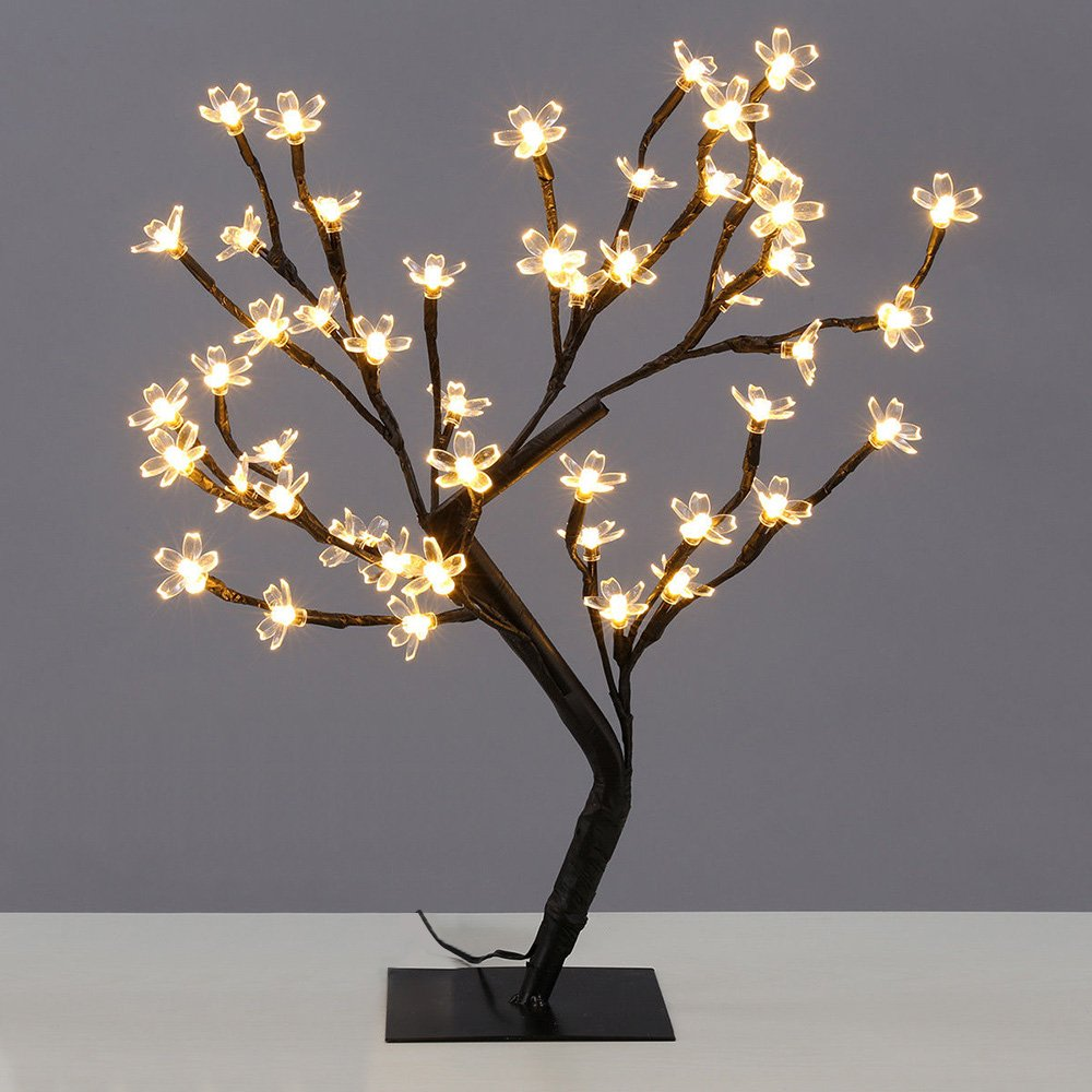 SUPOW Desk Lamp Table Top Cherry Blossom Tree Warm LED Lights Battery Powered S-Styled Decorative Lamp Light (warm white)