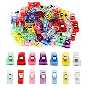 100 PCS Ipow Sewing Clips (70 Medium+ 30 Small ) - Versatile Assorted Colours Plastic Clips for Sewing Quilting Binding Crafting Crochet and Knitting, 27 * 10 mm / 33 * 18 mm