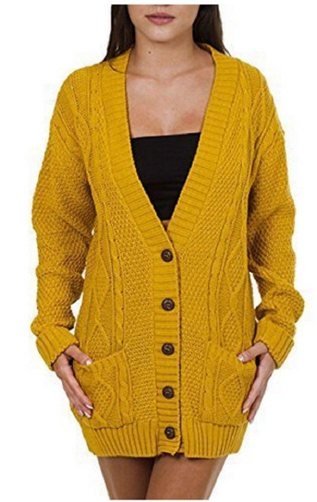 OgLuxe Women's Ladies Long Sleeve Pocket Cable Knit Chunky Cardigan Size 6-24 (S/M (UK 8-10 EU 36-38 US 4-6), Mustard)