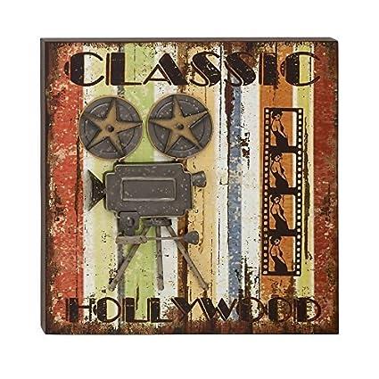 Amazon.com: Benzara Extraordinary Wood Metal Movie Plaque by Benzara ...