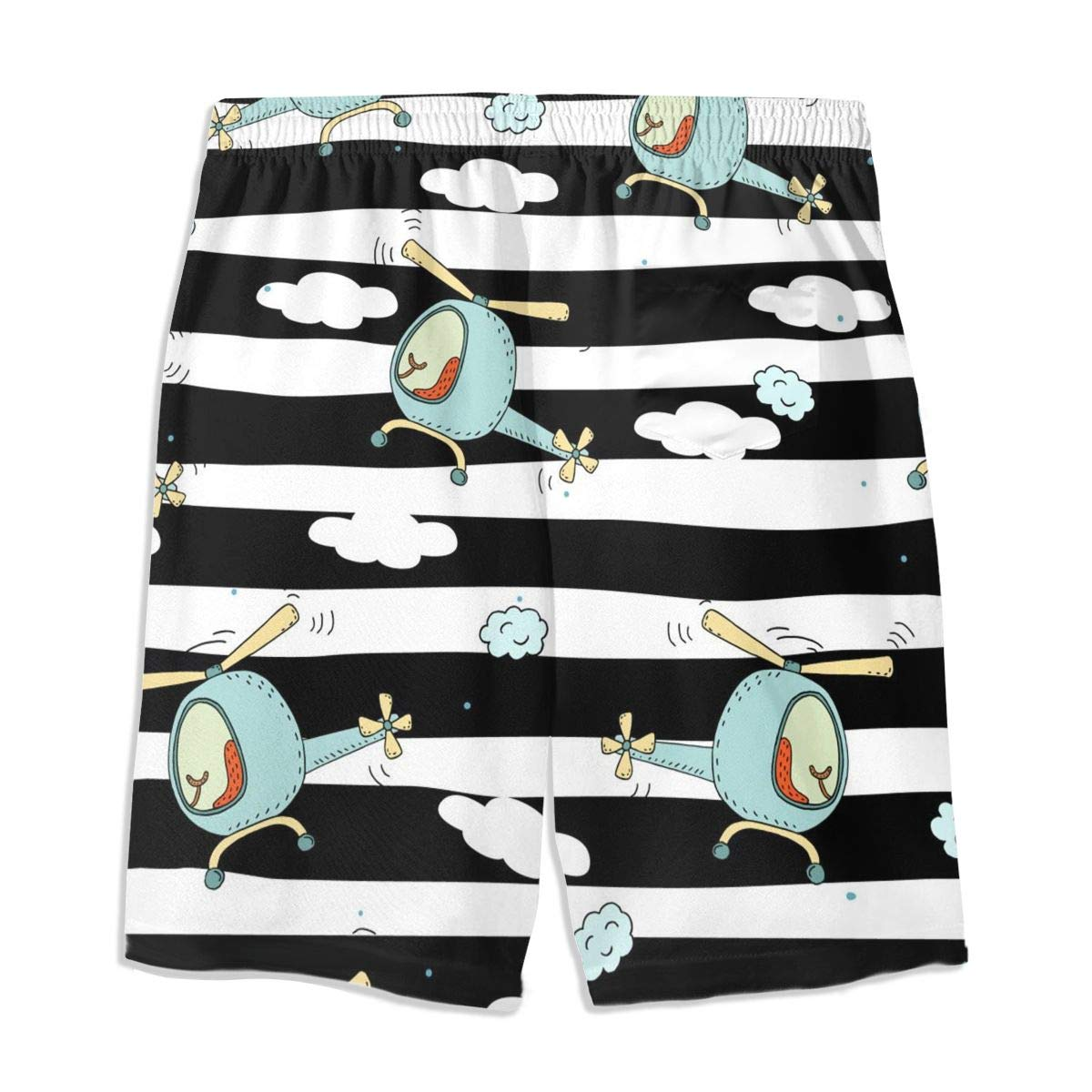 Mens Swim Trunks Blue Helicopter Cartoon Printed Beach Board Shorts with Pockets Cool Novelty Bathing Suits for Teen Boys