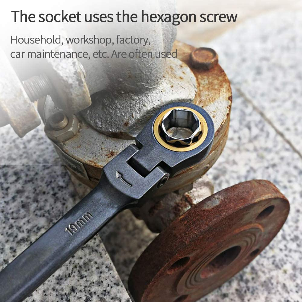 Multifunctional Ratcheting Socket Wrench Set Box End Wrench Metric with Adapter Socket Screwdriver