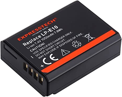 Expresstech @ Reemplazo batería LP-E10 LPE10 1050mah 7,4V para Canon EOS 1100D 1200D 1300D EOS Rebel T3 T5 T6 Kiss X50