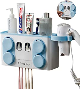 Toothbrush Holder Automatic Toothpaste Dispenser Wall Mounted,Perfect for Family use.Anti-dust with 4 Cups Easily Toothbrush Holder for Bathroom Storage Set No Drill Need