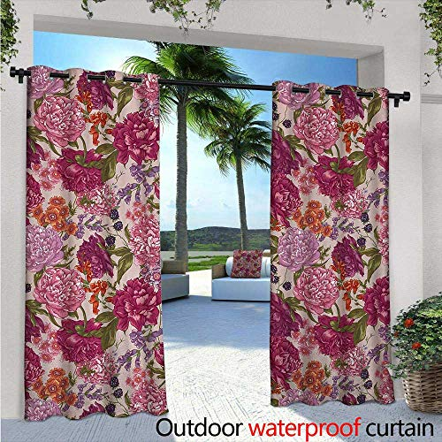BlountDecor Shabby Chic Outdoor Blackout Curtains W96 x L84 Peonies BlackBerry and Wild Flowers in Vintage Style Colorful Nature Theme Outdoor Privacy Porch Curtains ()