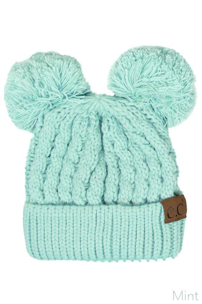 ScarvesMe CC Women Ribbed Knitted Double Pom Pom Beanie Hat (Mint)