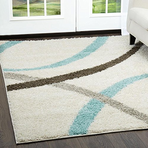 Home Dynamix and Nicole Miller's Synergy Quill | Shag Area Rug - White and Aqua| Durable, Plush, Soft, Cozy Area Rug| Contemporary Style 9'2