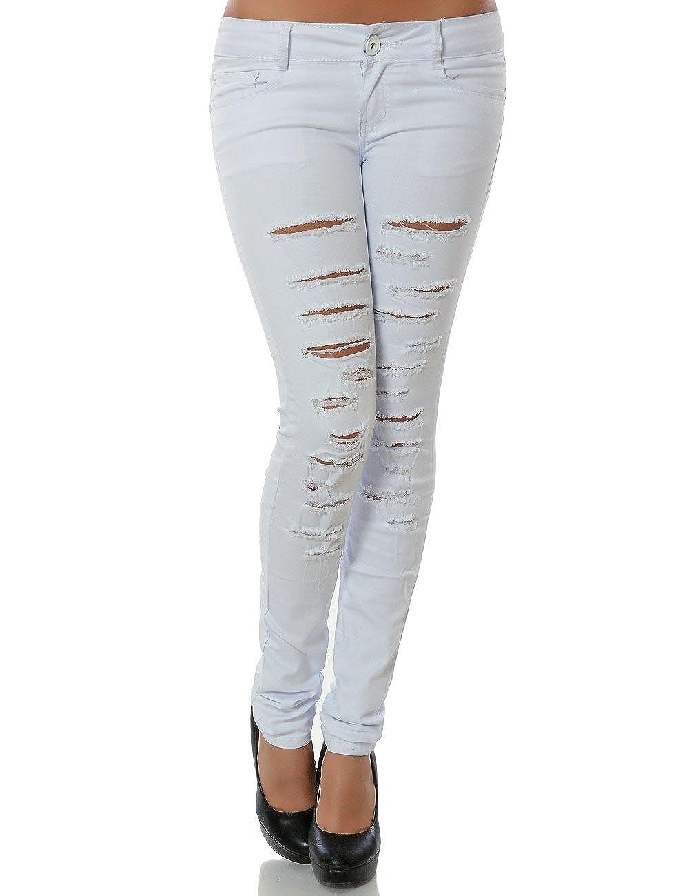 Damen Jeans Hose Hüftjeans Hüfthose Röhre Skinny Slim Fit Stretch Low No 15543