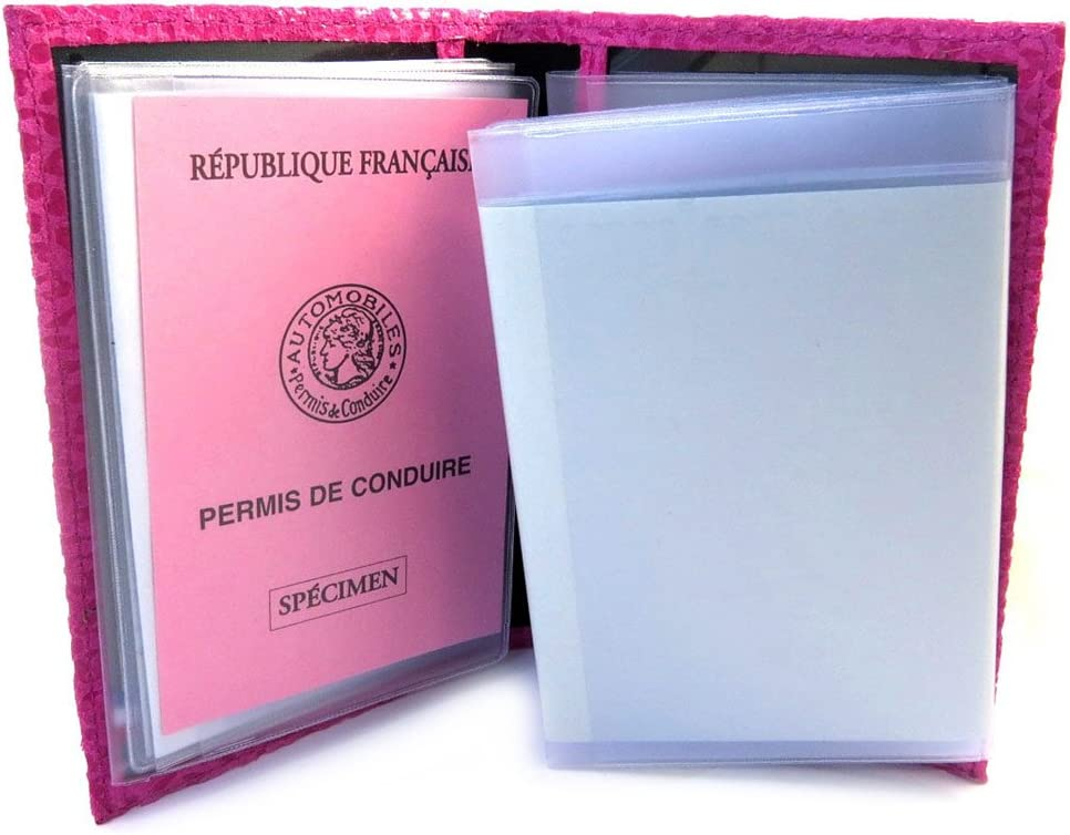 M3488 - Porte Papiers de voiture Cuir Frandi rose fuschia l/éopard ultra plat Frandi