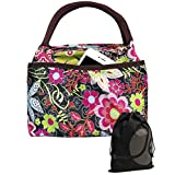 JAVOedge Elegant Floral Pattern Lunch Bag Tote Zipper with Front Pouch Pocket and Handle + Bonus Drawstring Storage Bag