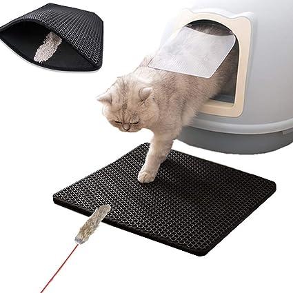 Authda Alfombrilla de arena para gatos doble capa fácil limpieza ...