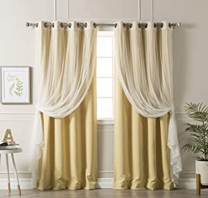 Aurora Home Mix and Match Blackout Tulle Lace Sheer 4 Piece Curtain Panel Set Sunlight 52 x 84 84 Inches