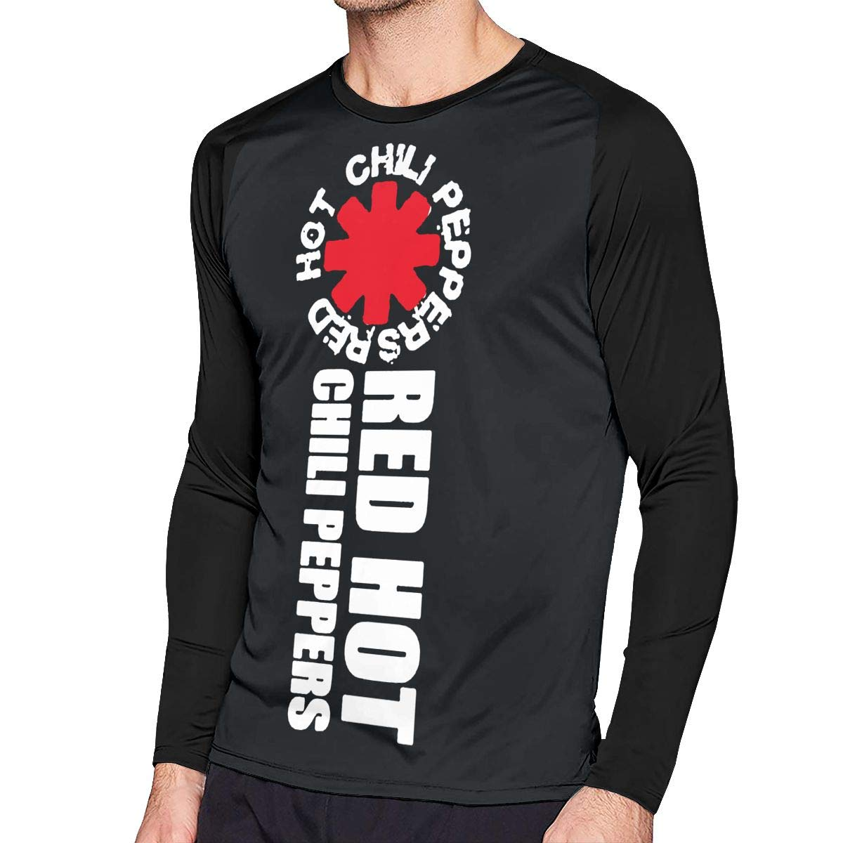 95ac0fd8b6d5 Kooiico Mens Fashion Red Hot Chili Peppers Rock Band Logo Long Sleeve Raglan  Baseball Tshirts Black