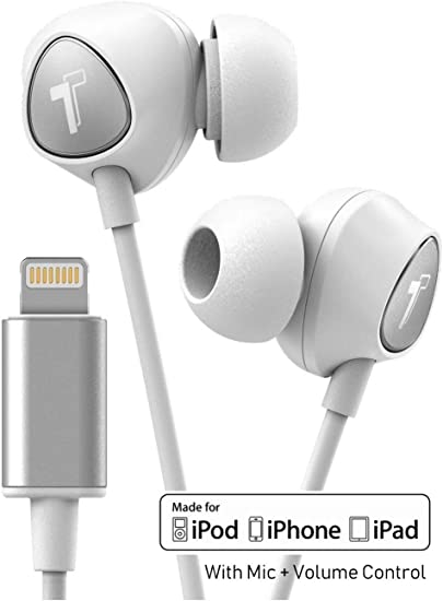 Amazon Com Thore Iphone Earbuds With Lightning Connector Mfi Certified By Apple Earphones V100 Wired In Ear Headphones With Volume Control Mic For Iphone X Xs Iphone 11 And 11 Pro Max White