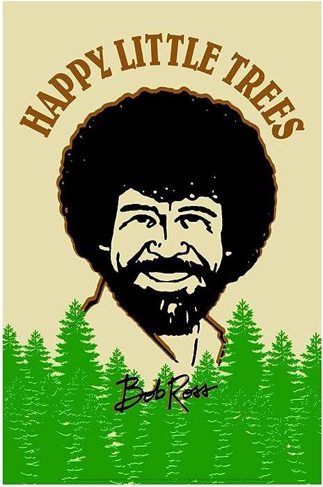 Bob Ross Happy Little Trees Retro Art Cool Wall Decor Art Print Poster 24x36
