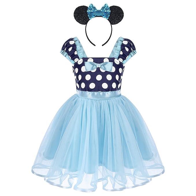 IWEMEK Bebé Niña Vestido de Fiesta Princesa Disfraces Tutú Ballet Lunares Fantasía Vestid Carnaval Bautizo Cumpleaños
