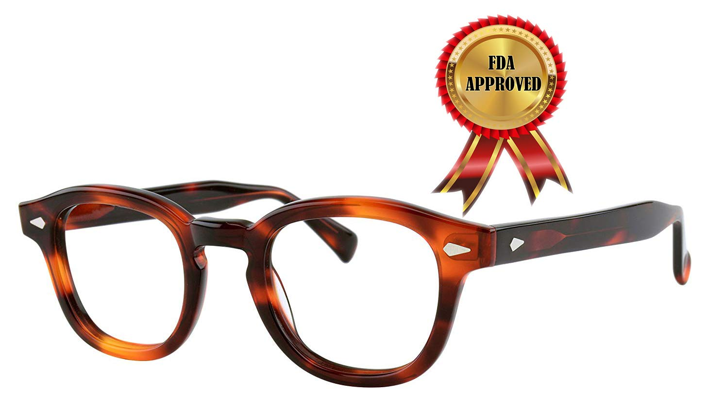 Verona Love Hand Made Acetate Computer Reading Eyeglasses Blue Light Filtering Premium Class Eyewear Filters More Than 90 Percent Blue Light Vintage Style Unisex Protective Ey (Demi Amber Size VLV46)