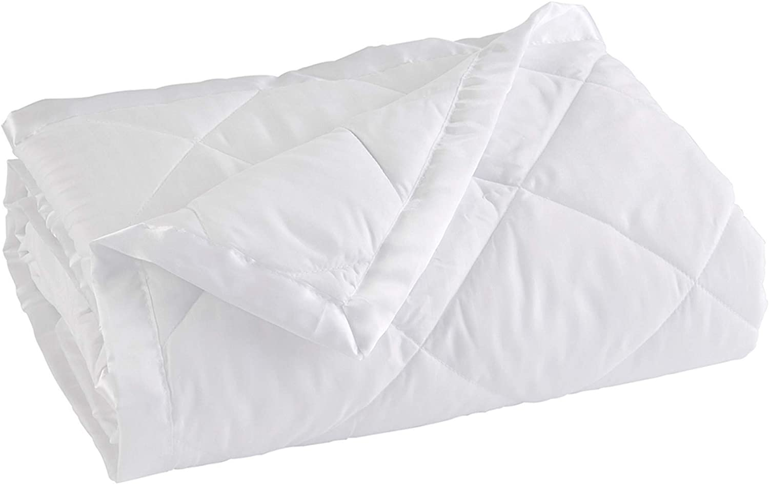 Home Fashion Designs Lightweight Twin Goose Down Alternative Blanket with Satin Trim. Romana Collection, White