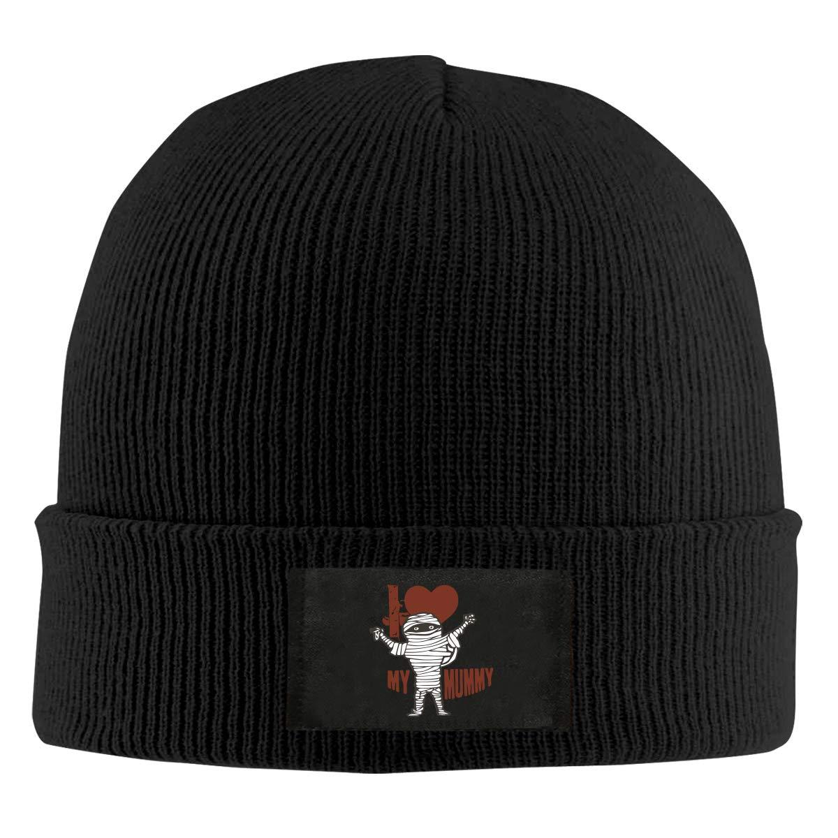 I Love My Mummy Winter Knitted Hat Warm Wool Skull Beanie Cap
