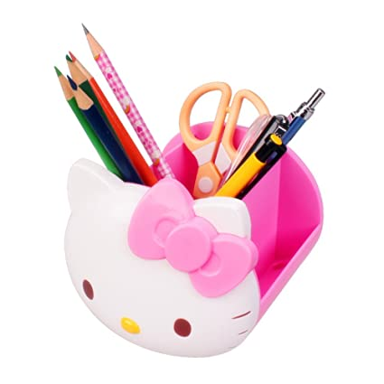 Desk Organizer TOSPANIA Multi Functional Hello Kitty Office Accessories ( Pink)