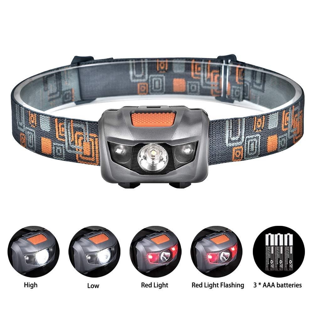 Linkax LED Stirnlampe LED Kopflampe LED Stirnlampen LED Kopflampen Kopfleuchten LED Headlight 4 Helligkeiten zu wahlen inklusive 3 AAA Batterie WY6124