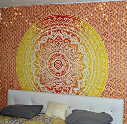 Jaipur Handloom Orange Ombre Tapestry Trippy Mandala Tapestry Wall Hanging Hippie Wall Tapestries Dorm Decor Ombre Bedding Bohemian Bedspread Bed Cover Bedding Beach Throw (Decor Bedding Dorm)