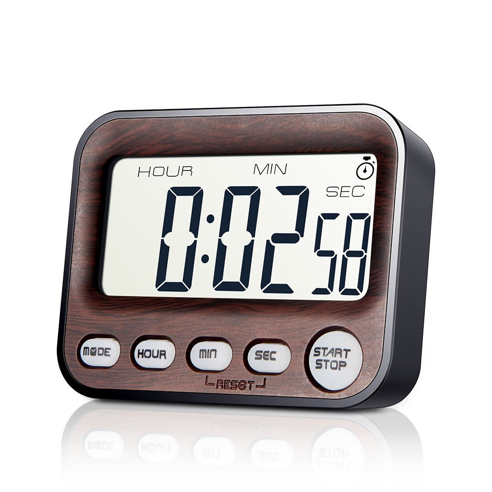 Jamal Digital Kitchen Timer for Kids Countdown Wood Grain Cooking Timers Multifunction Large LCD Display Second Minute Hour Loud Alarm Clock Magnetic Backing Stand for Office