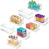 mDesign Deep Plastic Kitchen Storage Organizer Container Bin with Handles for Pantry, Cabinets, Shelves, Refrigerator, Freeze