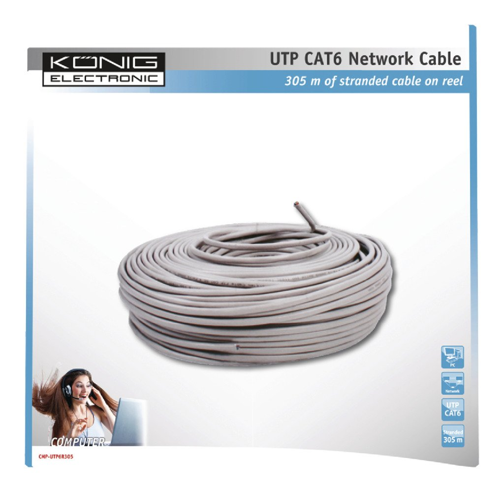 Konig Network Cat6 UTP Stranded Cable 305m Reel [CMP-UTP6R305]: Amazon.es: Electrónica