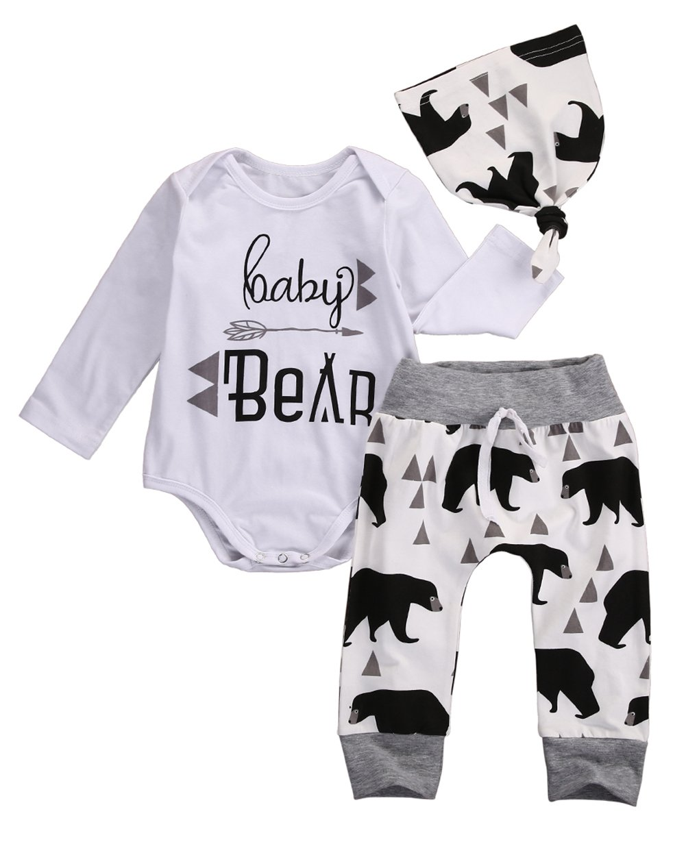 Newborn Baby Boy Girl Bear Romper+Long Pants+Hat Outfits Set