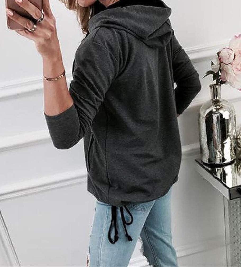 Fseason-Women Cardi Zip-Front Plus Size Long-Sleeve Hood Hoodie Jacket