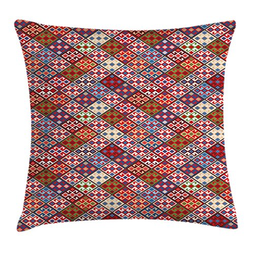 Native American Decor Throw Pillow Cushion Cover by Ambesonne, Ethnic Nomadic Rug Looking Seamless Pattern, Decorative Square Accent Pillow Case, 18 X18 Inches, Multicolor