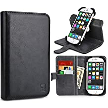 Cooper Cases(TM) Engage C360 Huawei Ascend Plus/Y300/Y300II/Y511/Y530/Y550 Smartphone Wallet Case in Black (Universal Compatibility w/ iOS/Android/Windows Devices; Scratch/Water-resistant Leather Cover; Rotating Frame for Rear-camera Access; Integrated Viewing Stand w/ 360 Degree Display; 3 Card Slots; 2 Slip Pockets; Magnetic Cover Lock)