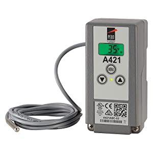 """Johnson Controls A421ABC-04C Penn Series A421 Line-Voltage Type 1 Electronic Temperature Control, IP20 Standard Enclosure, 120/240 VAC, Includes an A99BB-400C Temperature Sensor with 13' 1-1/5"""" Cable"""