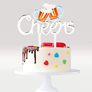 Cheers Beers Birthday Cake Topper - Cheers To 30th 40th Birthday Acrylic Cake Décor - Celebrate Promotion Retirement - Luau Barbecue Beers Party Decoration