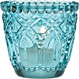 Luna Bazaar Vintage Glass Candle Holder (2.75-Inch, Lillian Design, Turquoise Blue) - for Use with Tea Lights - for Home Decor, Parties, and Wedding Decorations