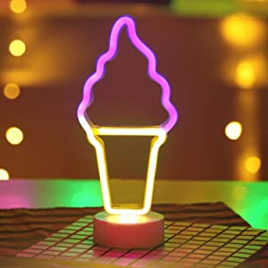 Battife Neon Ice Cream Signs LED Light with Holder Base USB or Battery Operated Table Night Lamp for Bedroom,Home Party Decorations Gifts