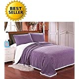 Elegant Comfort Micro-Sherpa Ultra Plush Warm Heavy-Weight Wave Pattern Blanket, King/Cal King, Lavender