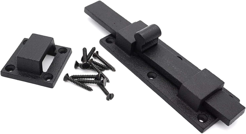 6 3//4 Black Iron Shutter Latch Slide Bolt Petite Door Slide Bolt Cabinet Latch Gate Latch Pantry Latch Furniture Latch