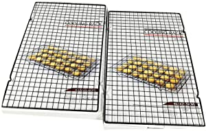 INTBUYING Stainless Steel Wire Cooling Roasting Rack Fits Small Quarter Sheet Size Baking Pan Commercial Quality Heavy Duty for Cooking Roasting Drying Grilling