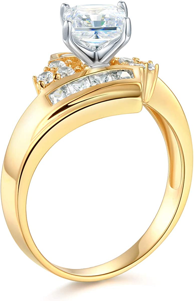 Wellingsale Ladies Solid 14k Yellow White Gold Polished CZ Cubic Zirconia Princess Cut Engagement Ring with Side Stones OR