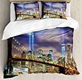 Twin Size Landscape 3 PCS Duvet Cover Set, Manhattan Skyline with Brooklyn Bridge and Towers in NYC United States America, Bedding Set Bedspread for Children/Teens/Adults/Kids, Puple Green