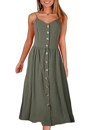 900c06dbf86 ZESICA Women s Summer Spaghetti Strap Solid Color Button Down Swing Midi  Dress Army Green