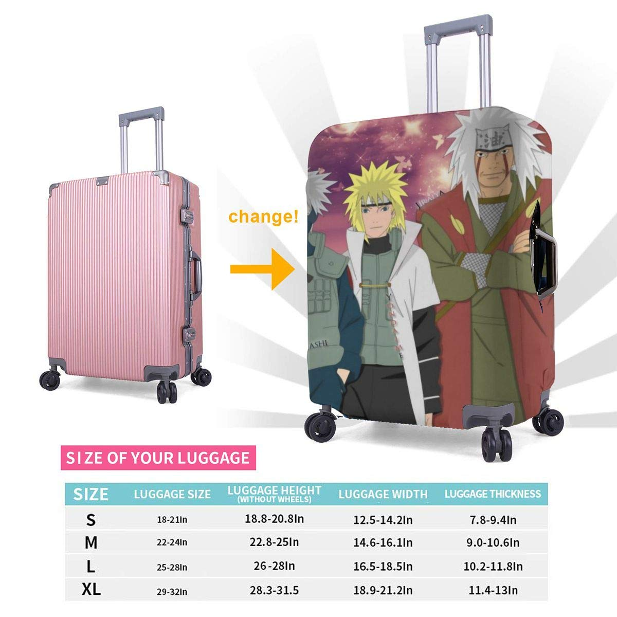 Anime One Piece Suitcase Protector Travel Luggage Cover Fit
