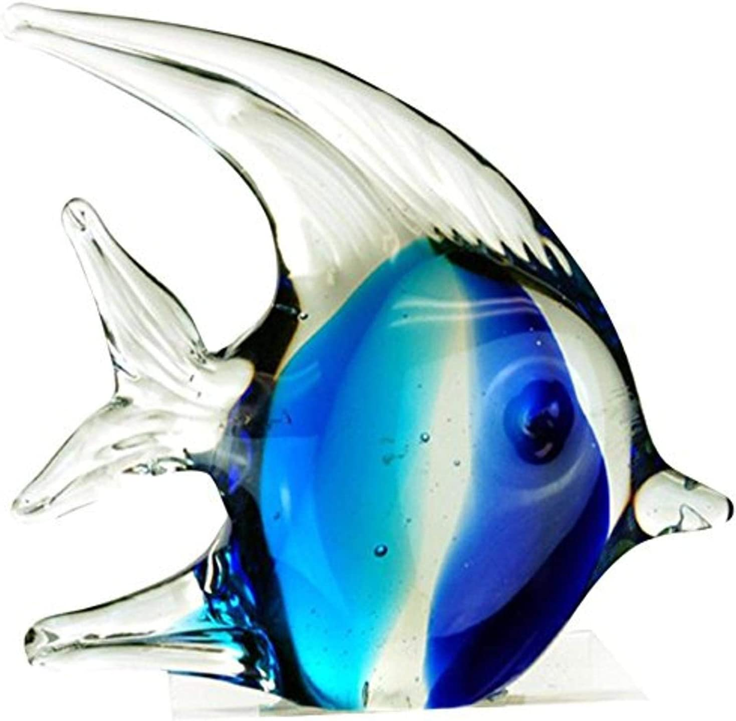 "StealStreet ZBD-571 Ss-Ug-Zbd-571, 4.5"" Bubble Angel Fish Glass Blown Decor Figurine, Teal & Blue"