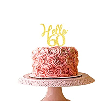 Image Unavailable Not Available For Color Hello 60 Gold Acrylic Cake Topper 60th Birthday Party Decorations