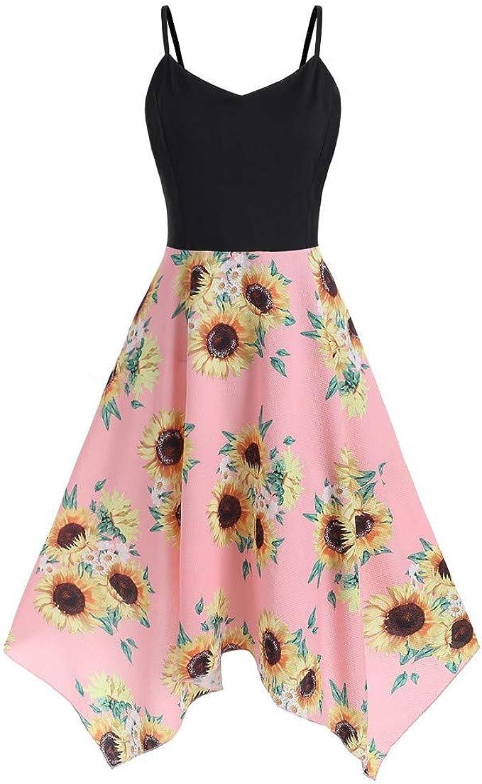 Kulywon Plus Size Fashion Womens Sunflower Print Asymmetric Camis  Handkerchief Dress