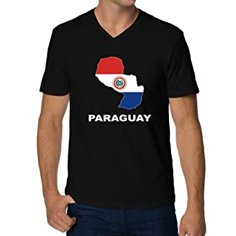 Teeburon Paraguay Country Map Color Camiseta cuello V: Amazon.es: Ropa y accesorios