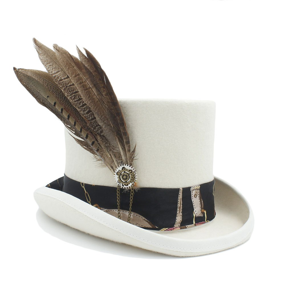 Best Choise Women's Mad Hatter Bowler Cap Men's Wool Top Felt Steampunk Hat with Gear wheel&Feather ( Color : 1 , Size : 55cm )