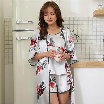 SUxian - 7 unids Señoras Flores Impreso Batas de Vestir Robe ...
